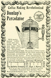 1897 Ad Bellaire Stamping Dunlap Perculator Coffee Maker Brewer Beans LHJ6