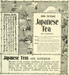 1897 Ad Japanese Teas Recipe Crane Flowers Mountain Cup Steeping Bamboo LHJ6 - Period Paper