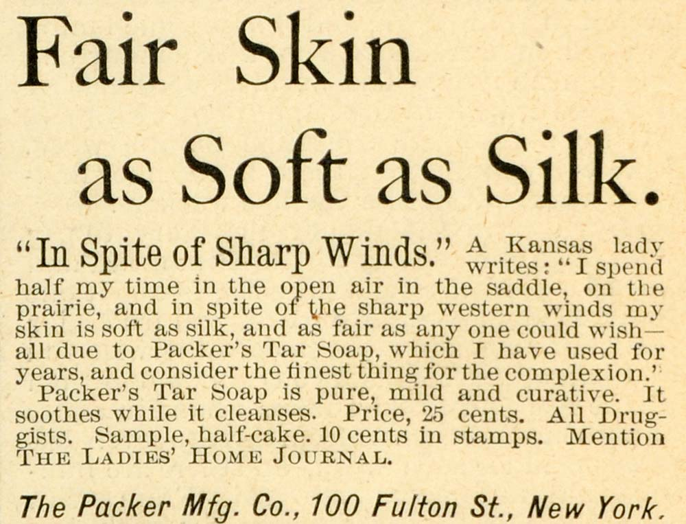 1891 Ad Packer's Tar Soap Complexion Skin Care Toiletries 100 Fulton St New LHJ6