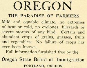 1893 Ad Portland Oregon Chamber Commerce Agriculture Climate Farmer's LHJ6