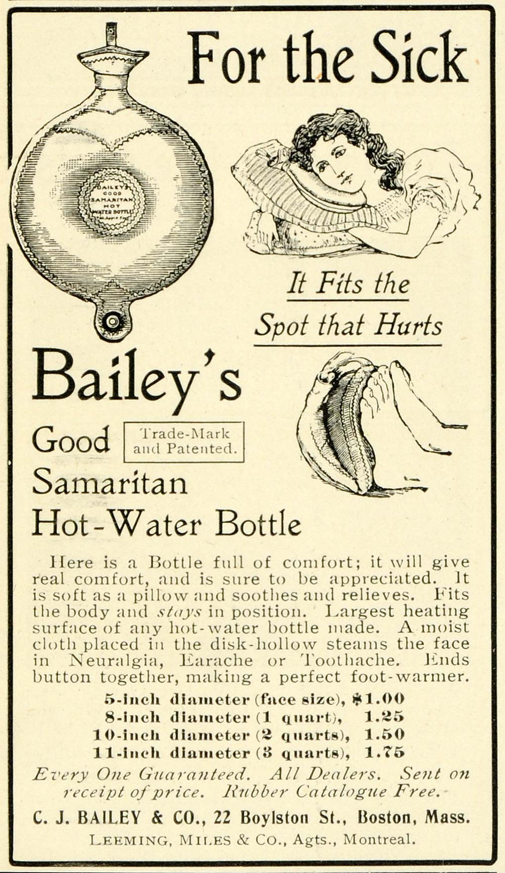 1902 Ad C. J. Bailey's Good Samaritan Hot Pack Water Bottle Achy Sore LHJ6