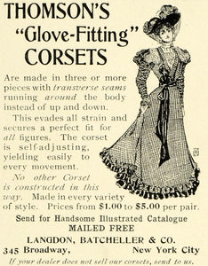 1899 Ad Thomson Glove Fitting Corsets Victorian Fashion Langdon Batcheller LHJ6