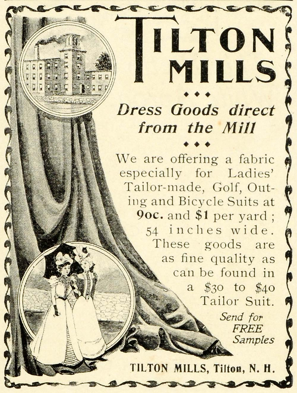 1899 Ad Tilton Mills Victorian Fashion Golf Bicycle Women's Recreation LHJ6