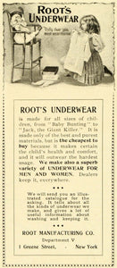 1899 Ad Roots Children's Underwear Dolly Playtime Jack Giant Killer Baby LHJ6