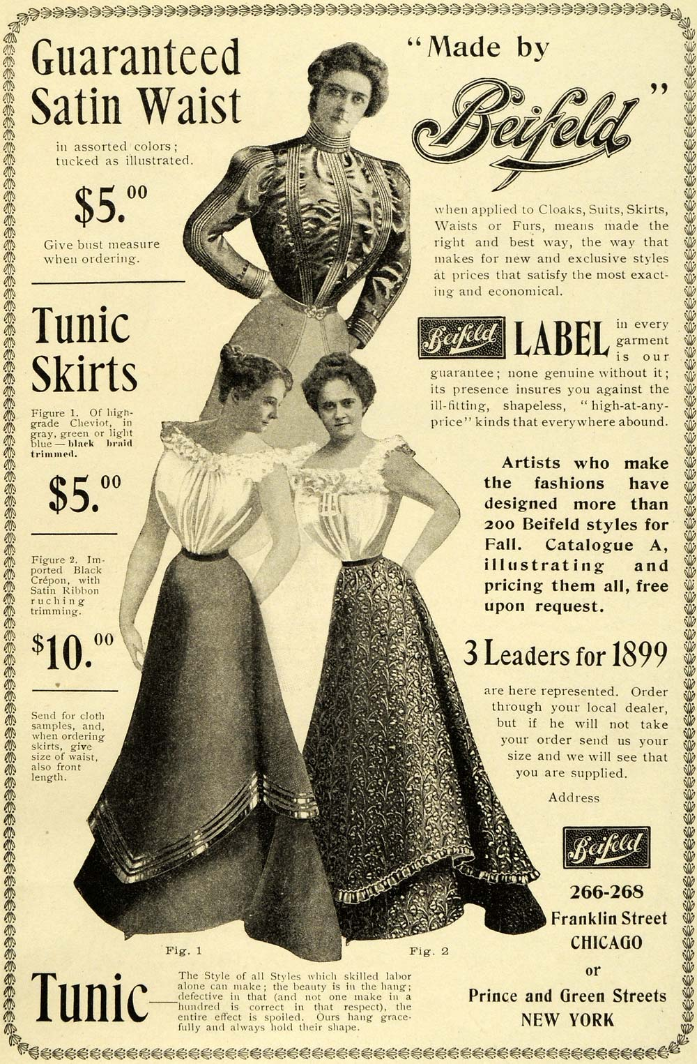 1899 Ad Beifeld Satin Waist Tunic Skirts Ladies Fashions Clothing Style LHJ6