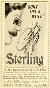 1899 Ad Sterling Cycles Watchmaker Loupe Eyeglass Bicycles Kenosha Builder LHJ6
