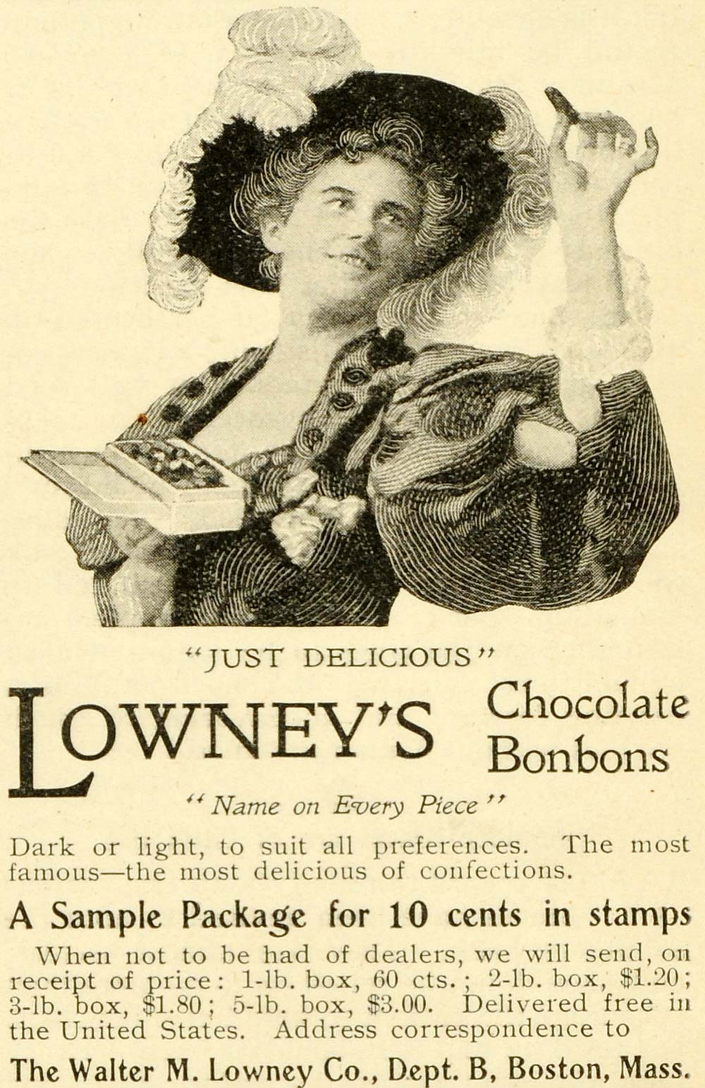 1899 Ad Walter M. Lowney Chocolate Bonbons Candy Feather Hat Poofy Sleeve LHJ6