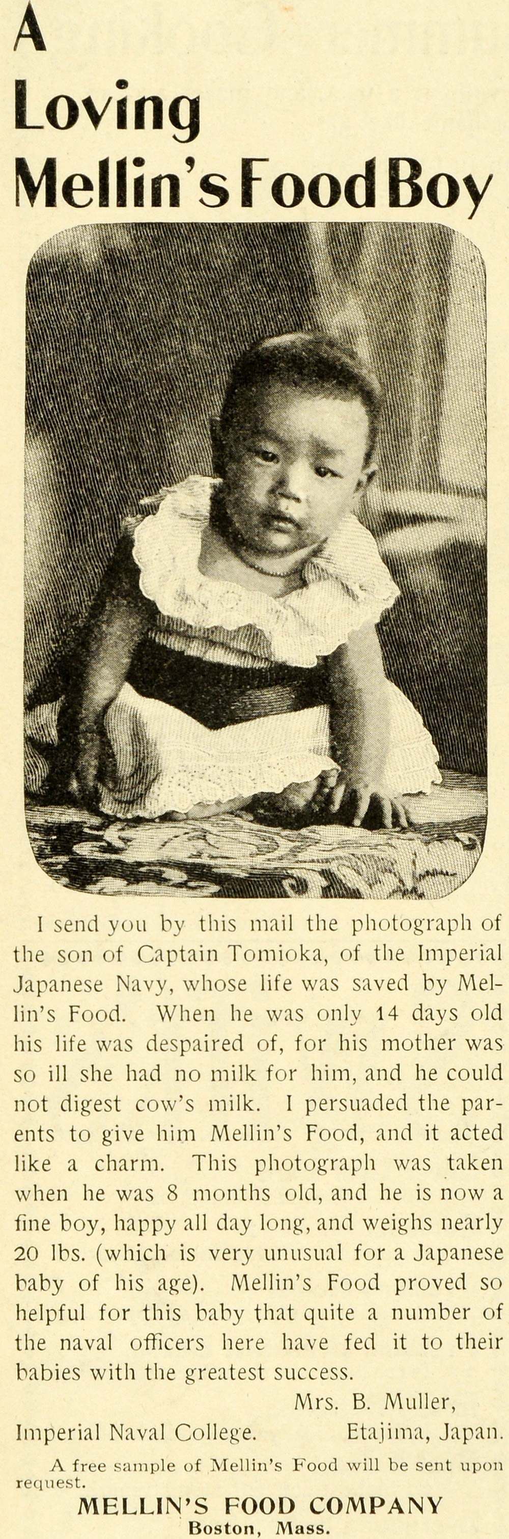 1899 Ad Mellin's Baby Food Captain Tomioka Son Japanese Imperial Navy LHJ6