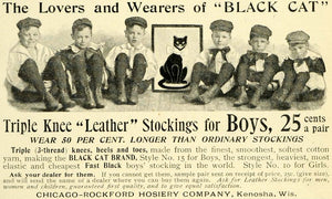 1897 Ad Chicago-Rockford Hosiery Black Cat Leather Knee Stockings Boys LHJ6