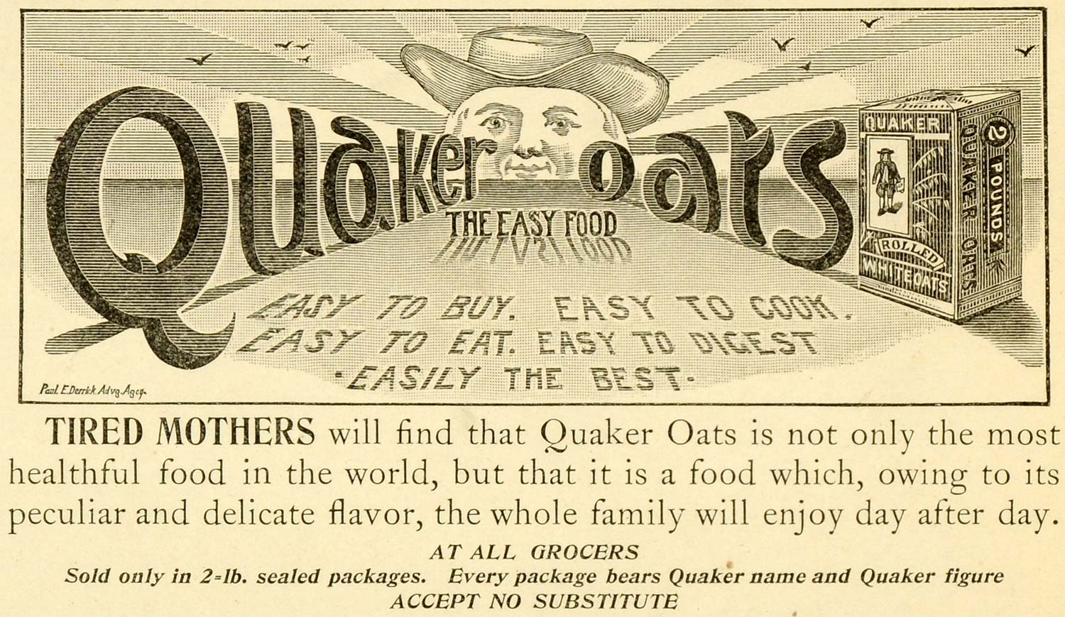 1898 Ad Quaker White Oats Cereal Oatmeal Breakfast Food Sunrise Morning LHJ6