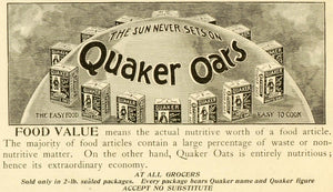 1898 Ad Quaker White Oats Globe Earth Healthy Cereal Food Boxes Breakfast LHJ6