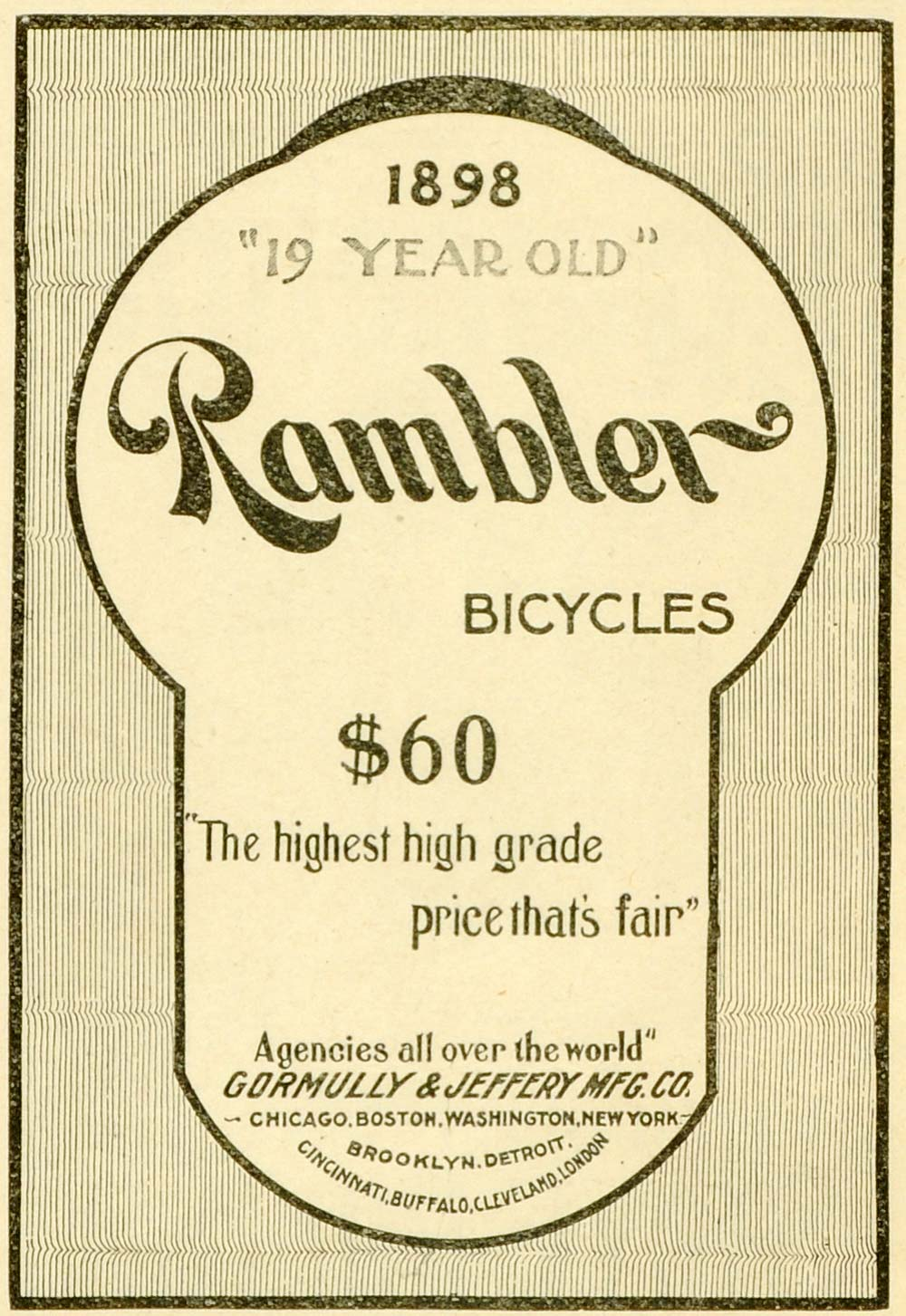 1898 Ad Gormully Jeffrey Manufacturing Rambler Bicycles Agency Transport LHJ6