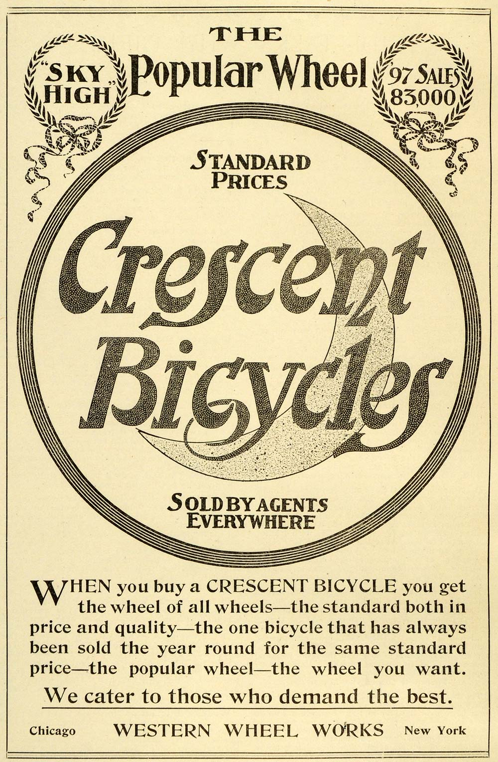 1898 Ad Western Wheels Crescent Bicycles Sky High Moon Wreaths Transport LHJ6