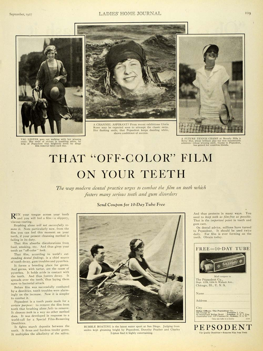 1927 Ad Pepsodent Toothpaste Val Lester Betty Mar Rowe Dentifrice Whitener LHJ7