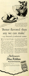 1927 Ad Hellmann's Blue Ribbon Mayonnaise Condiments - ORIGINAL ADVERTISING LHJ7