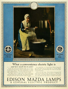 1925 Ad General Electric Edison Mazda Lamps Elderly Woman Wax Candle Maker LHJ7
