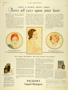 1925 Ad Packer Manufacturer Liquid Hair Shampoo Women Hairstyle Portraits LHJ7