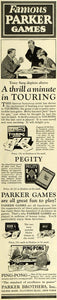 1925 Ad Parker Brothers Card Party Game Touring Pegity Ping-Pong Ball Tony LHJ7