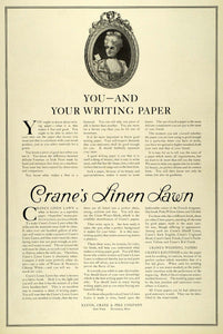 1909 Ad Eaton Crane Linen Lawn Writing Paper Georgian Baroque Wig Lady LHJ7