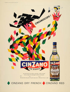 1965 Ad Cinzano Bianco White Dry Vermouth Bottle Italy - ORIGINAL LN1