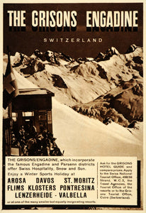 1956 Ad Grisons Engadine Switzerland Travel Winter Alps - ORIGINAL LN1