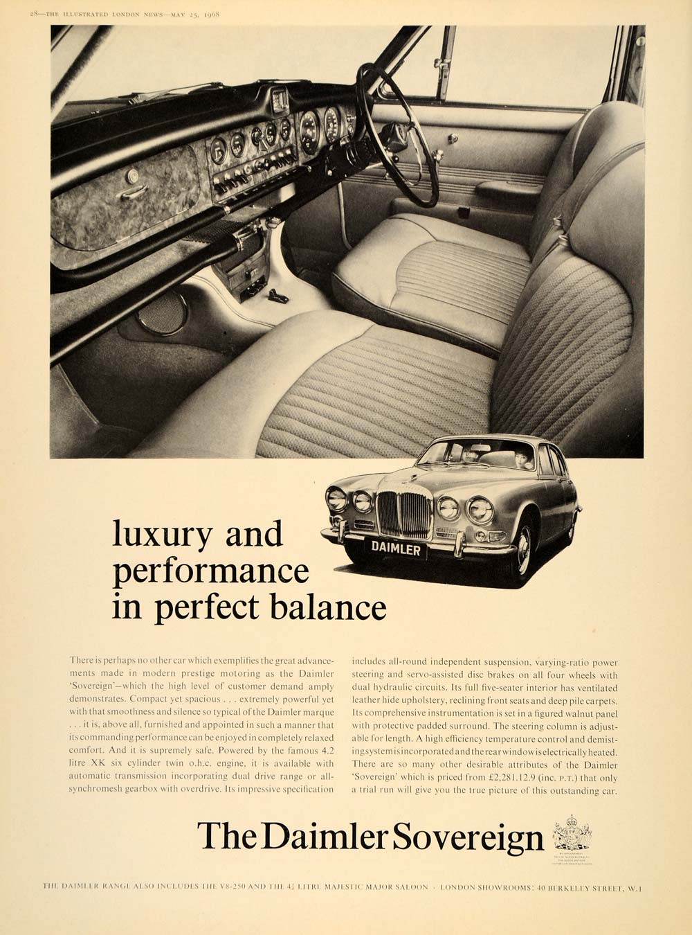 1968 Ad Daimler 4.2 Litre Sovereign Automobile Interior - ORIGINAL LN1