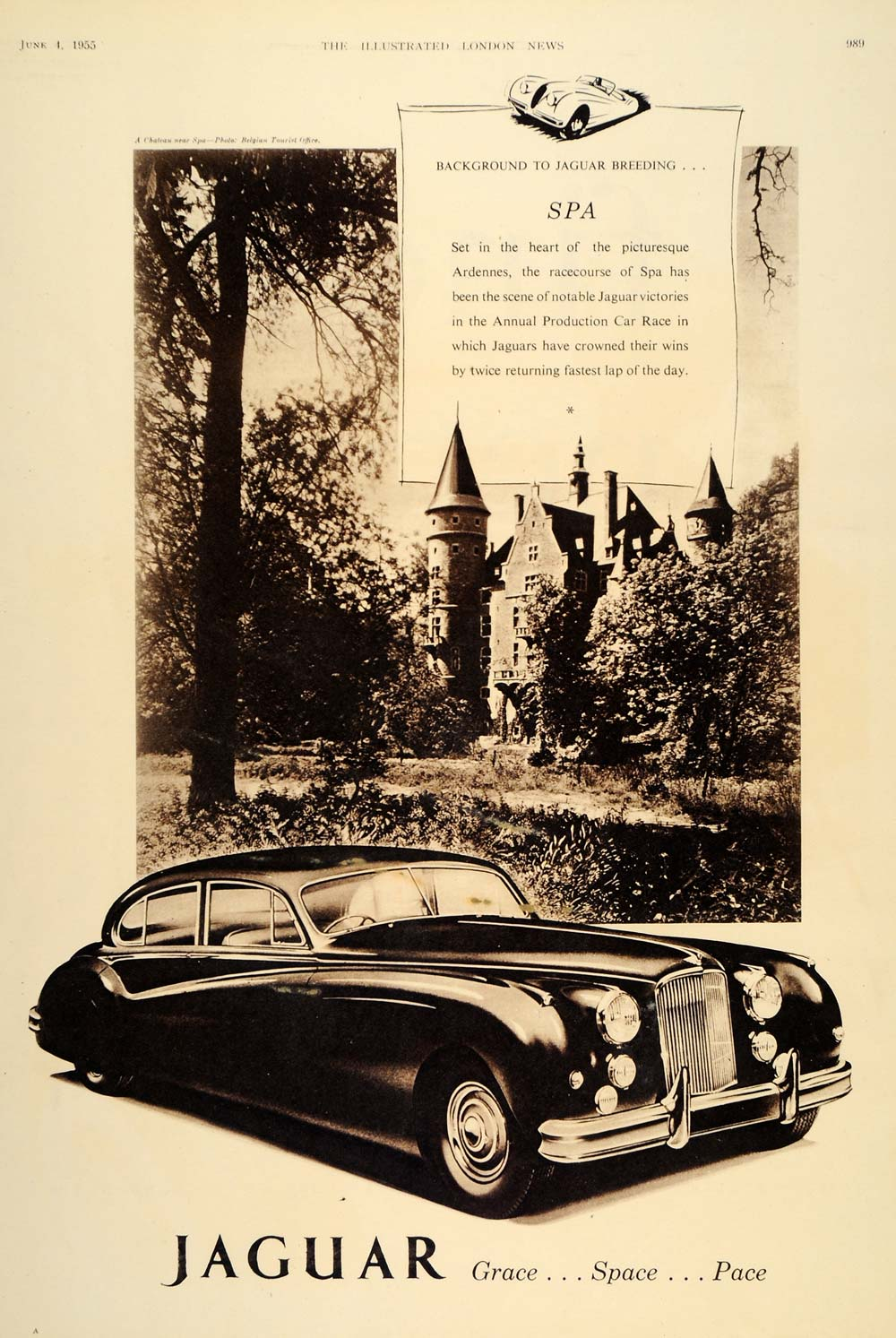 1955 Ad Jaguar Sport Car Spa Belgium Chateau Racetrack - ORIGINAL LN1