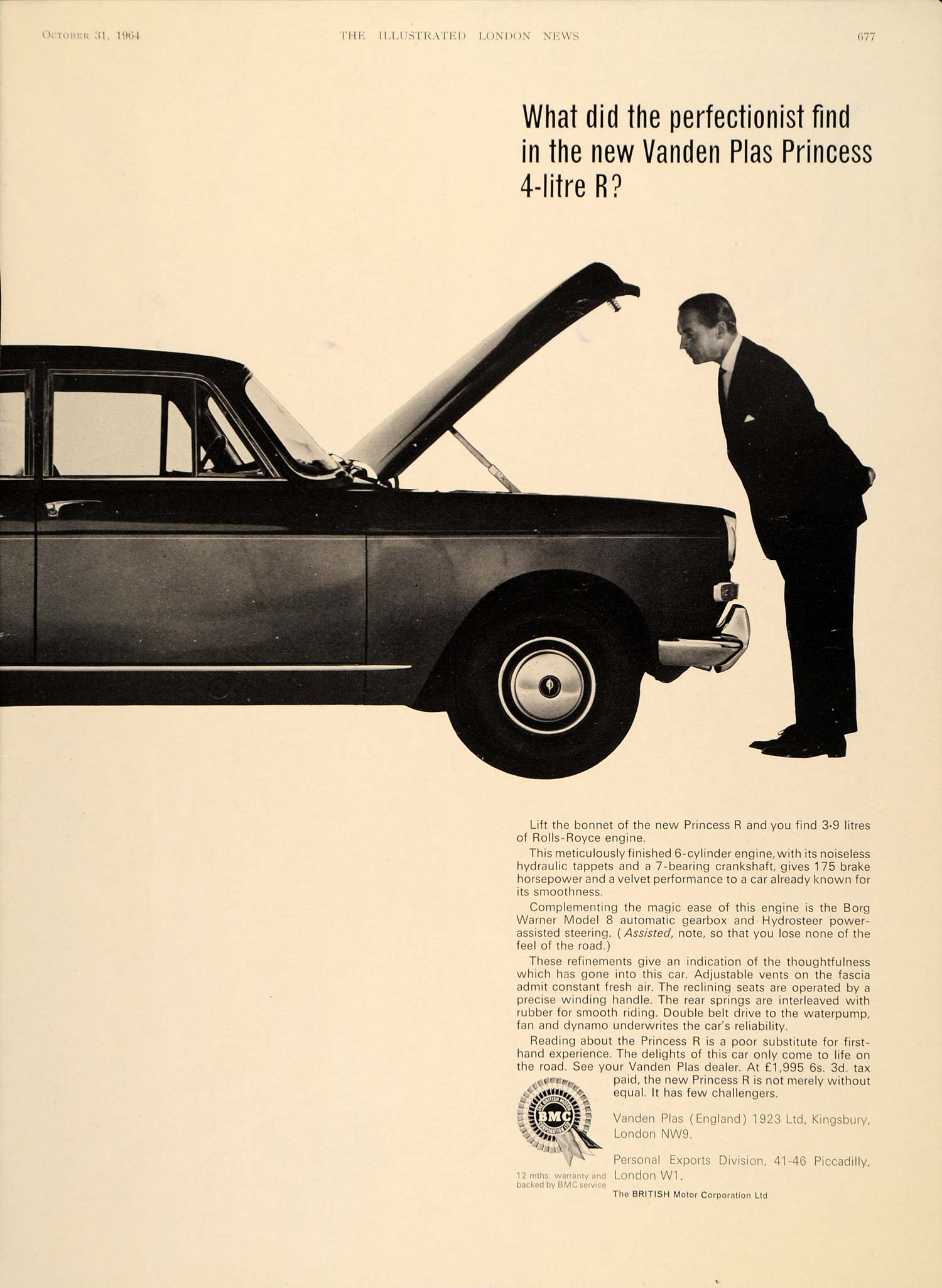 1964 Ad Vanden Plas Princess R 4-Litre British Car Auto - ORIGINAL LN1