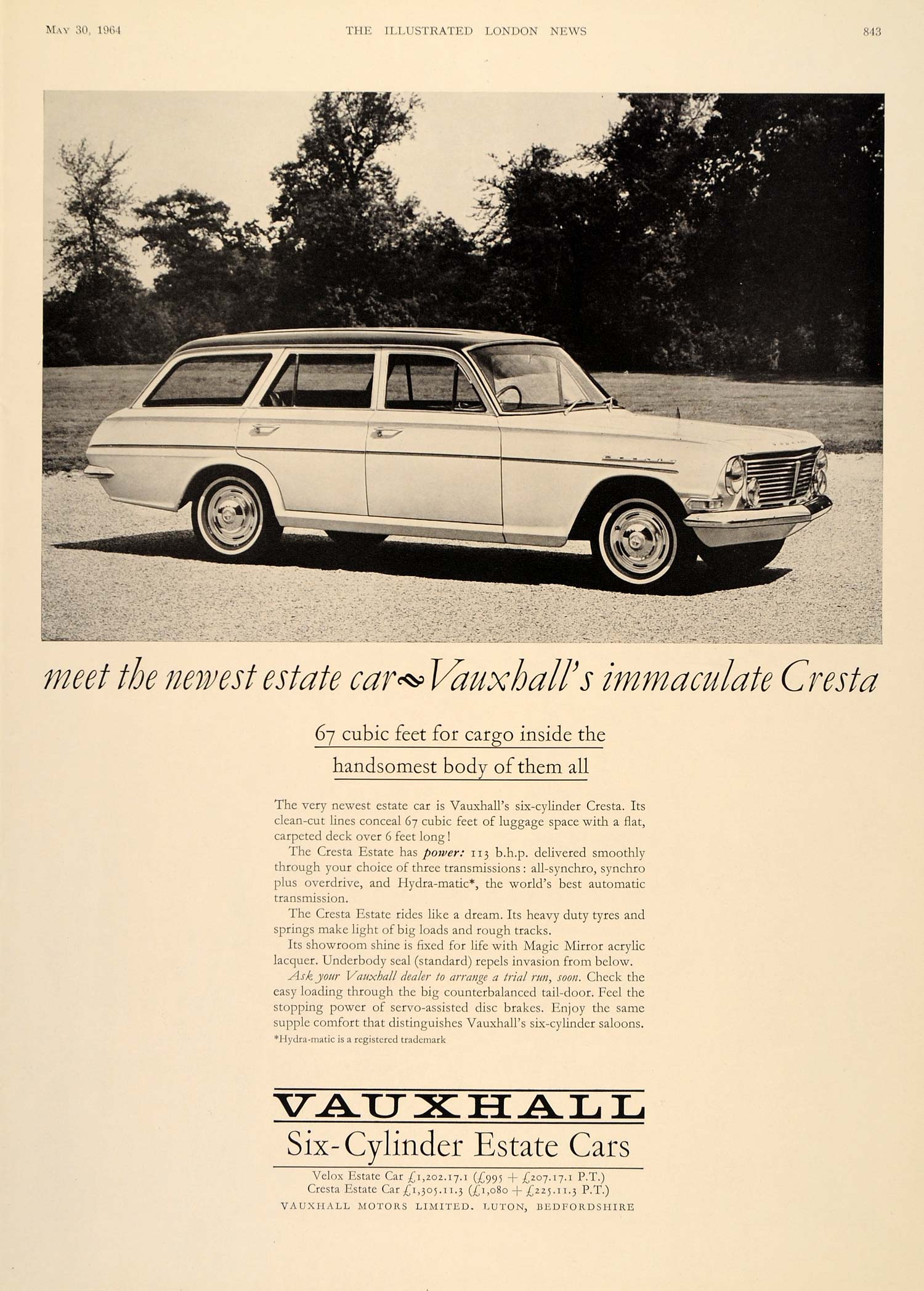 1964 Ad Vauxhall Cresta Estate Car Station Wagon GM UK - ORIGINAL LN1