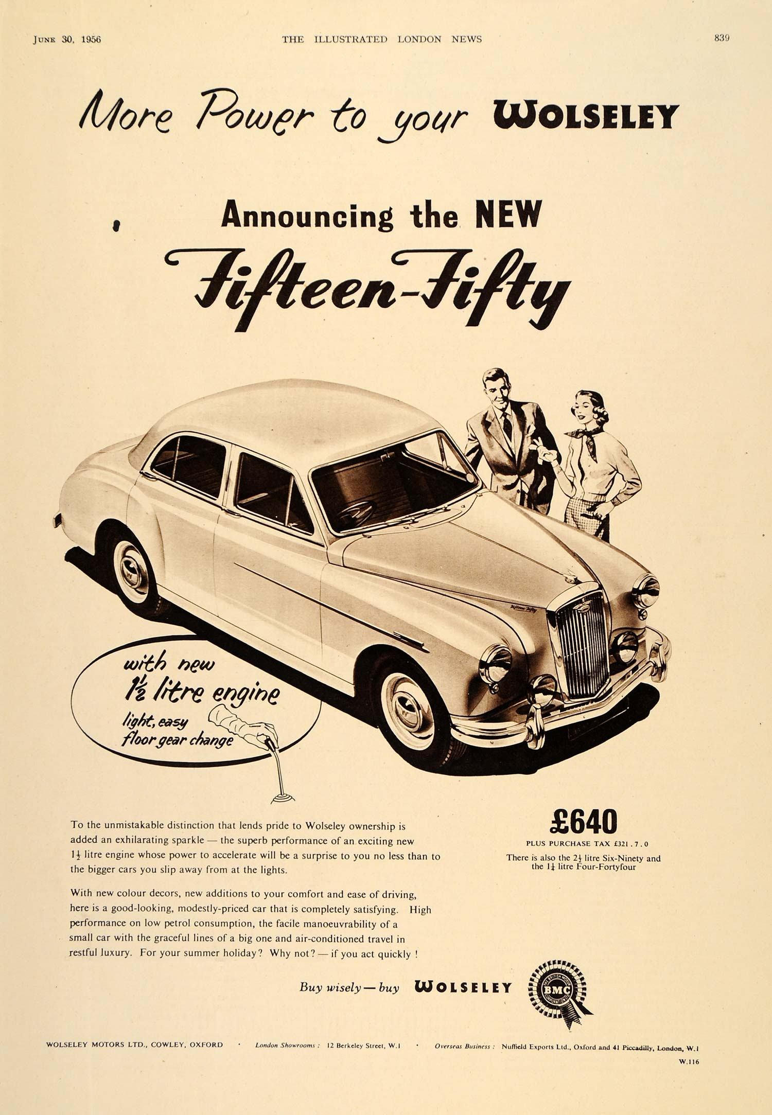 1956 Ad Wolseley Fifteen-Fifty 15/50 British Automobile - ORIGINAL LN1
