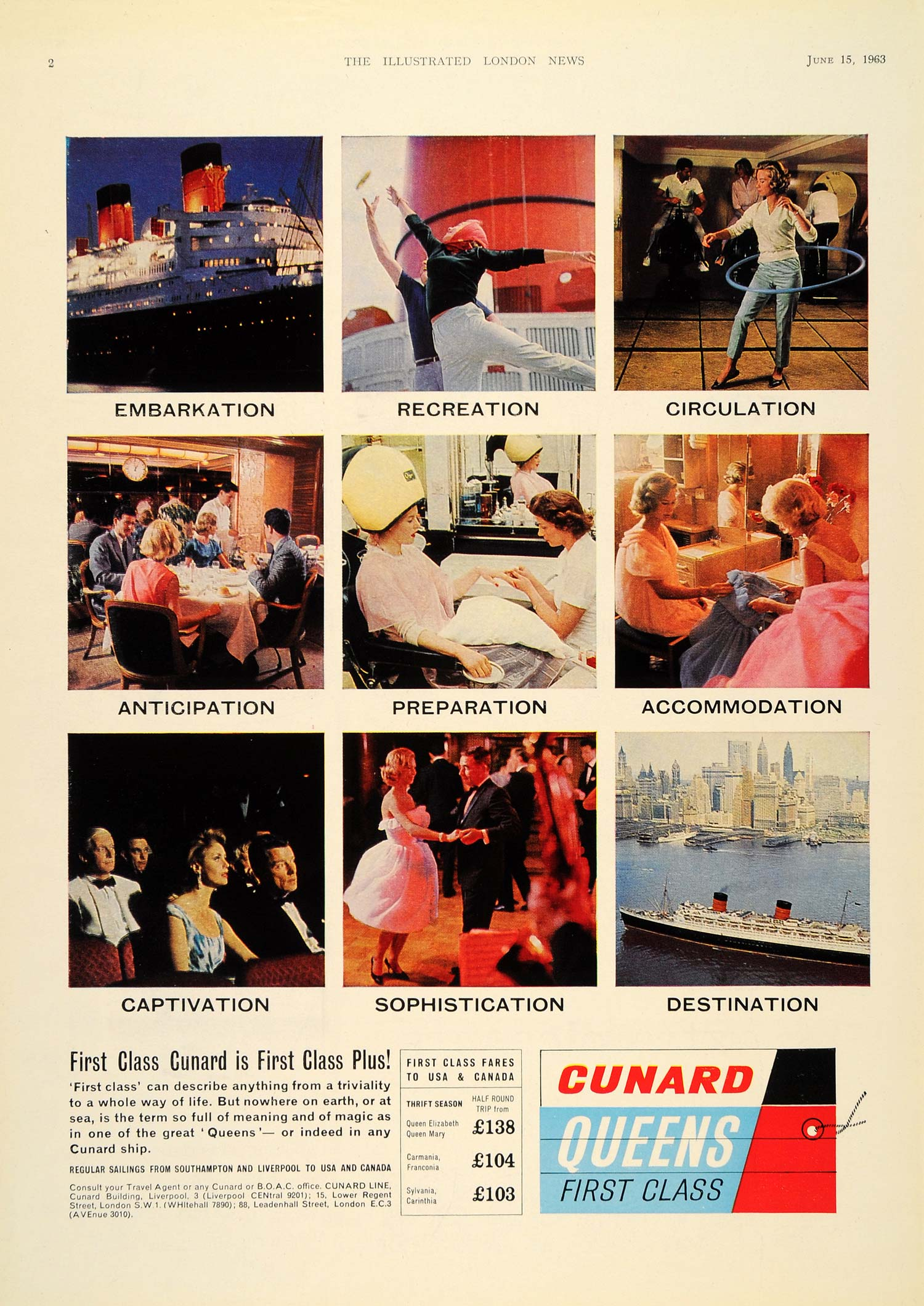 1963 Ad Cunard Line Queen Ocean Liners First Class Fare - ORIGINAL LN1