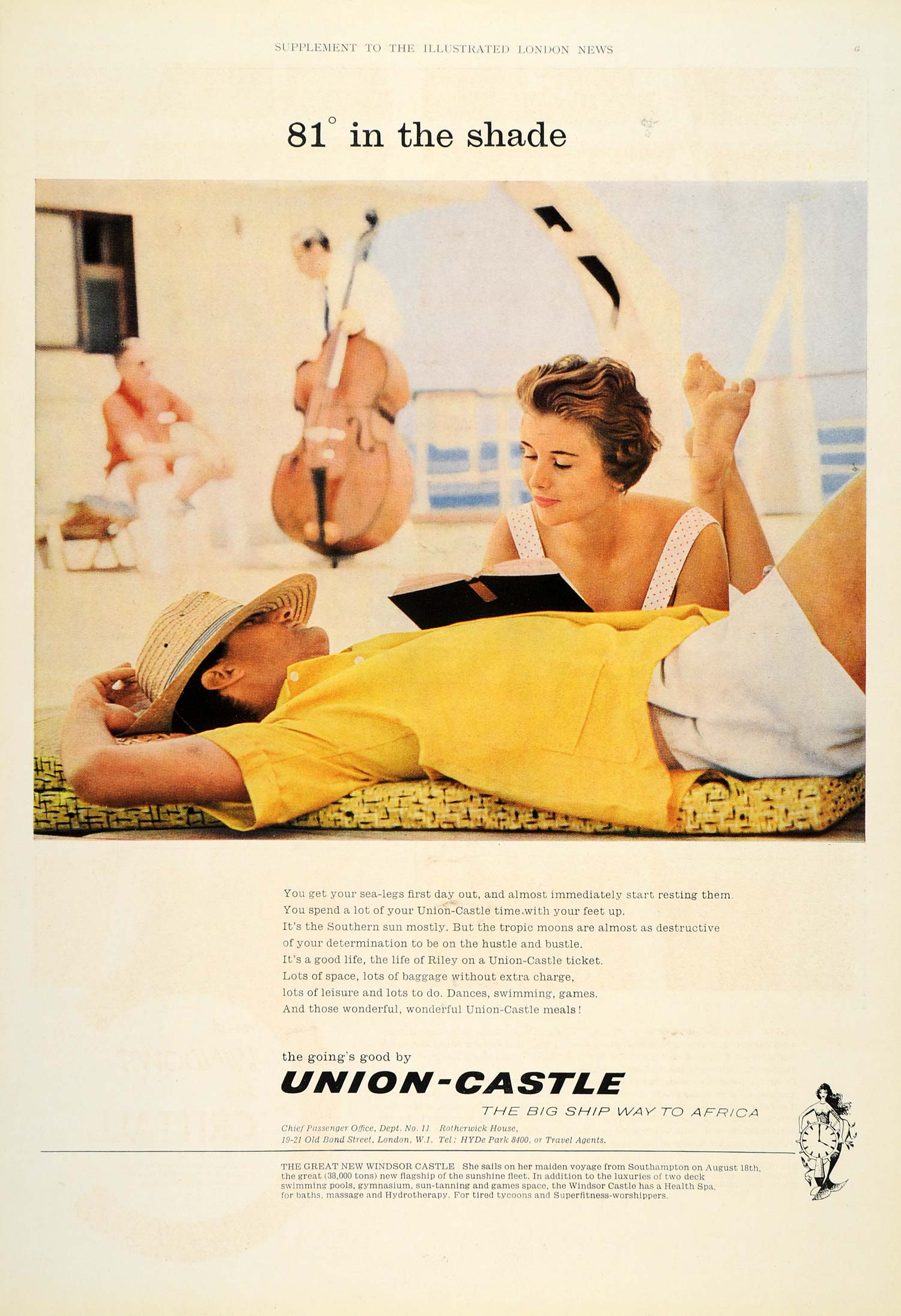 1960 Ad Union-Castle Line Ship Travel Africa Passengers - ORIGINAL LN1