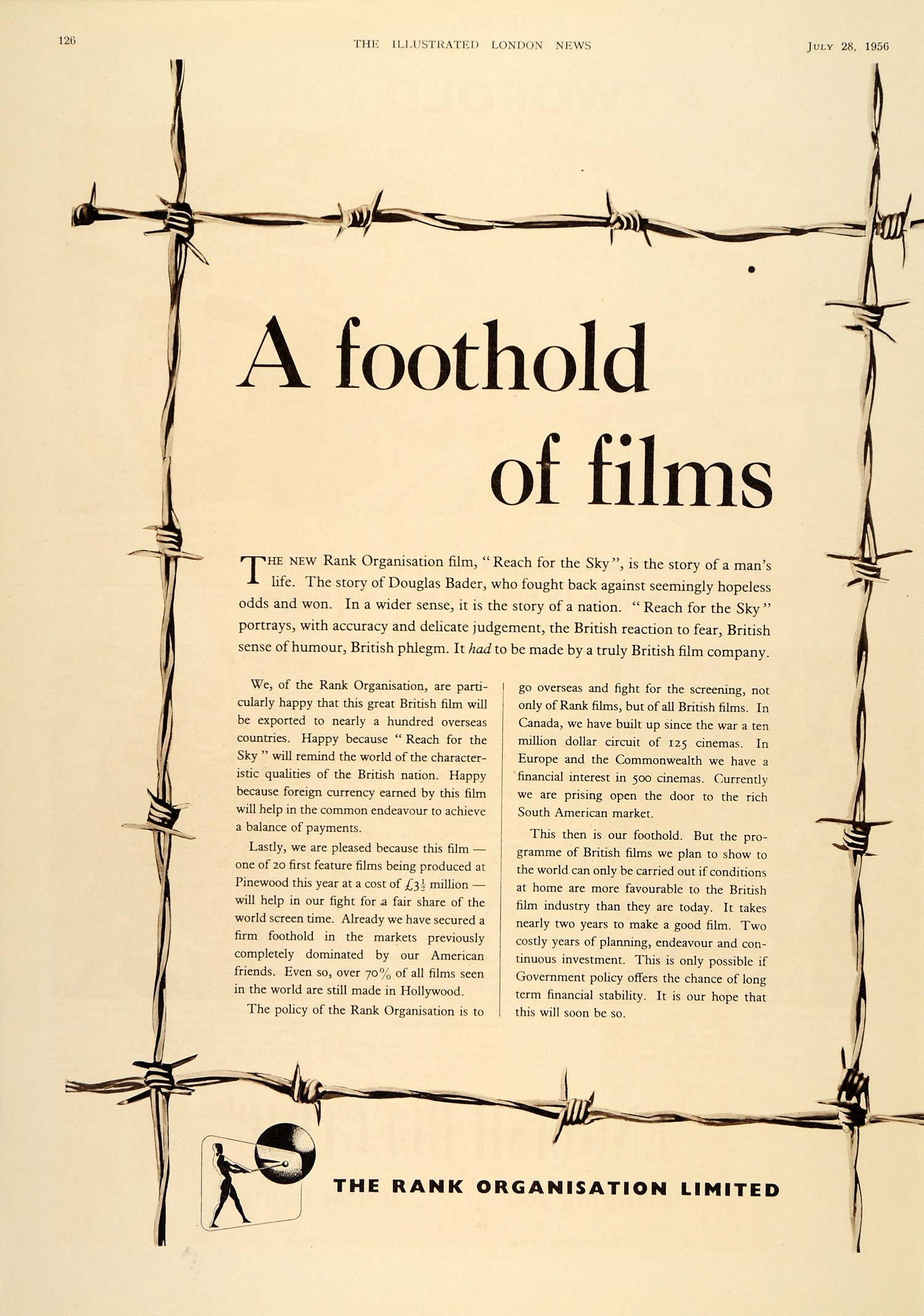 1956 Ad Rank Organization British Film Kenneth More - ORIGINAL ADVERTISING LN1