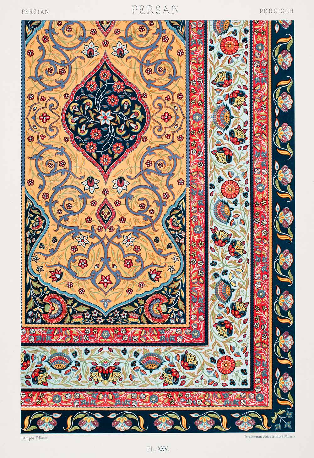 1875 Chromolithograph Persian Rug Design Pattern Traditional Historic Lor1