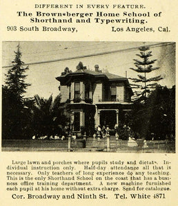 1899 Ad Brownsberger Home School Shorthand Typing CA - ORIGINAL ADVERTISING LOS1
