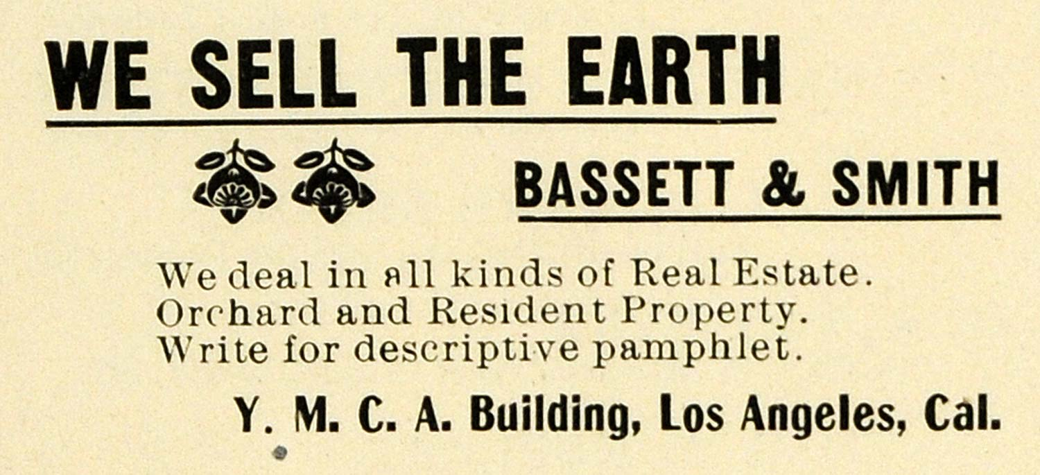 1899 Ad Bassett Smith Real Estate Orchard Residence CA - ORIGINAL LOS1