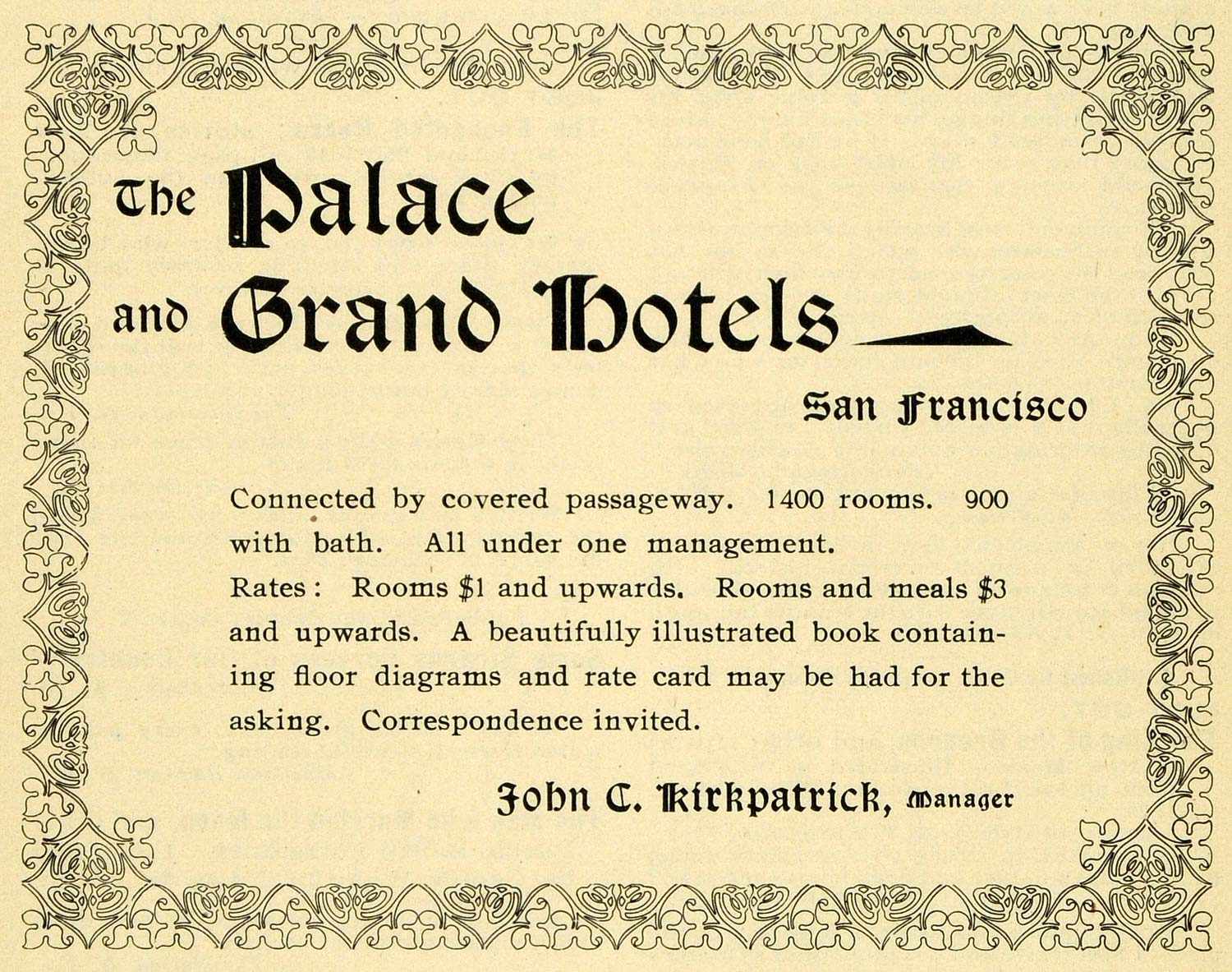1898 Ad Palace Grand Hotels J. Kirkpatric San Francisco - ORIGINAL LOS1