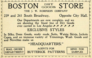 1899 Ad Boston Dry Goods Store J. W. Robinson Butterick - ORIGINAL LOS1