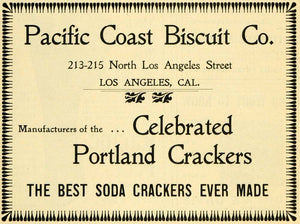 1901 Ad Portland Soda Crackers Pacific Coast Biscuit - ORIGINAL ADVERTISING LOS1