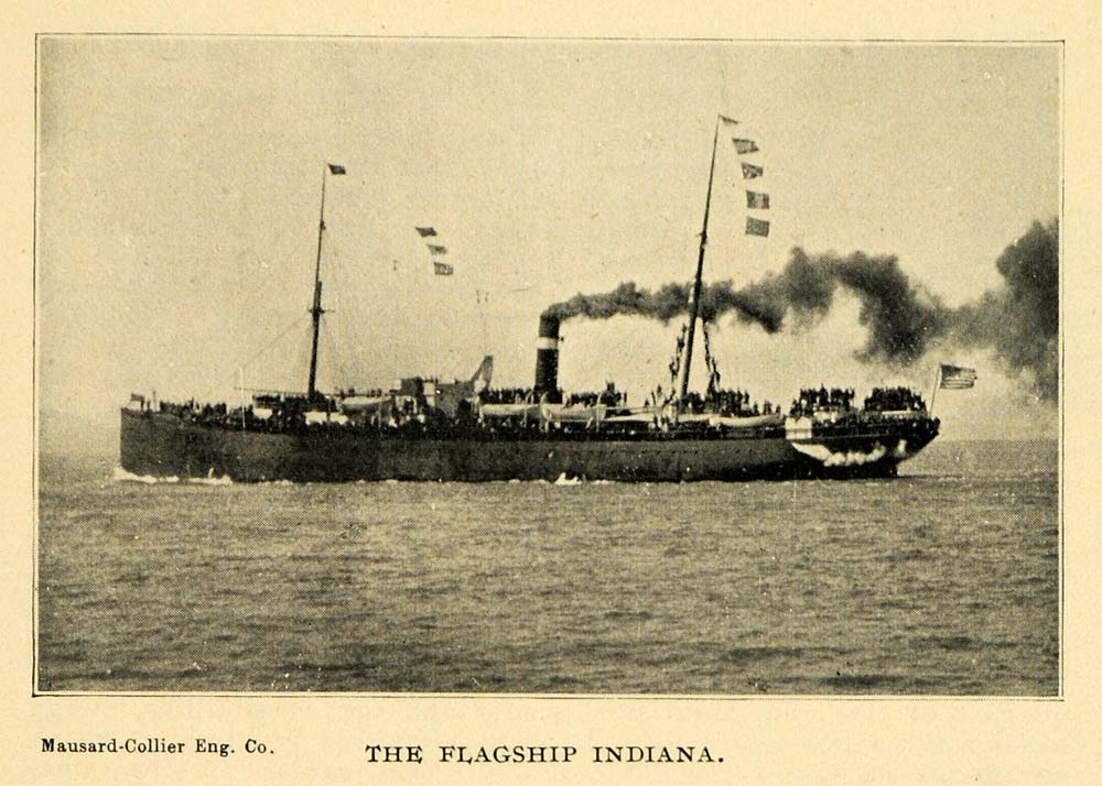 1898 Print USS Navy Ship Indiana Spanish-American War ORIGINAL HISTORIC LOS1