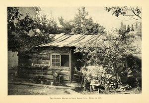 1901 Print 1847 Oldest Home Salt Lake City Utah Cabin - ORIGINAL HISTORIC LOS1