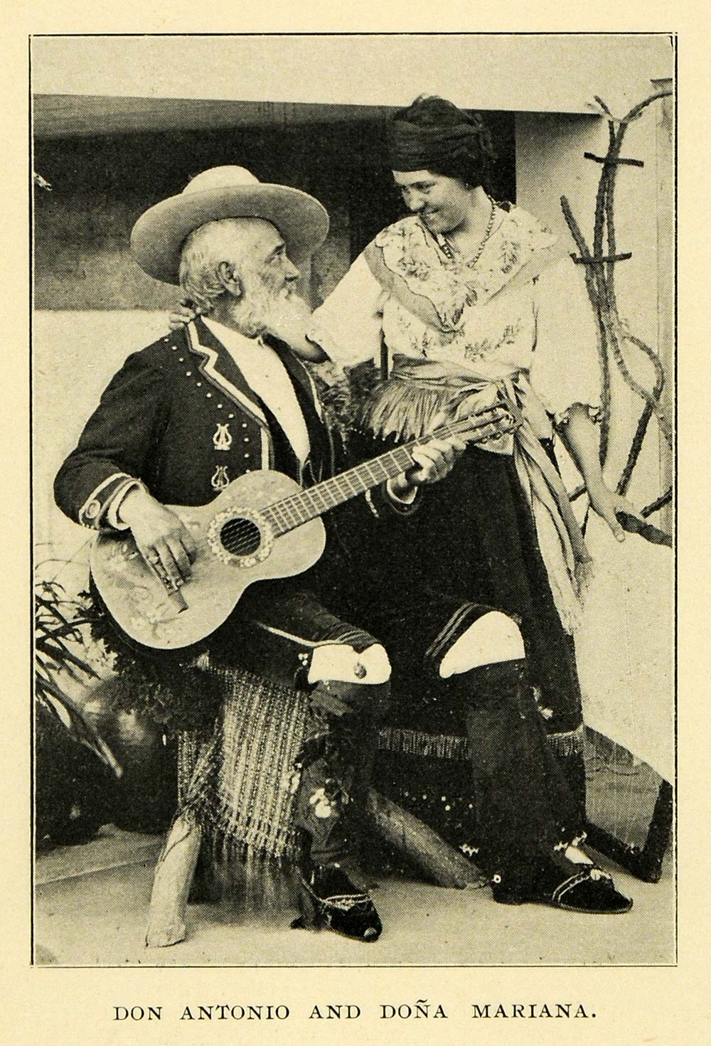 1901 Print Don Antonio Dona Mariana Guitar Spanish - ORIGINAL HISTORIC LOS1