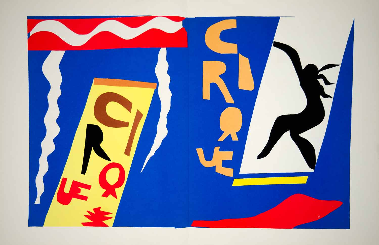 1985 Lithograph Henri Matisse Jazz Le Cirque Circus Cut Out Art Abstract Modern