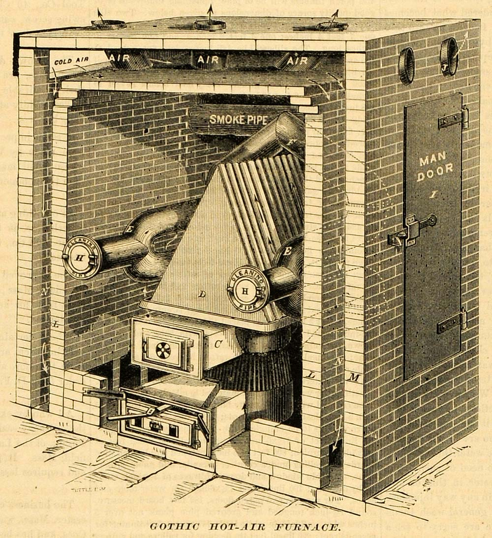 1873 Print Gothic Hot-Air Furnace Brickwork Vintage Machine Alex M Lesley MAB1