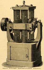 1874 Print Wild's Magneto Electro-Plating Machine Antique Mechanical MAB1