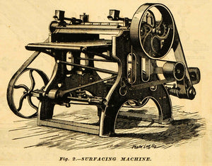 1874 Print Surfacing Machine Antique Machine S W Nelson Worcester MAB1