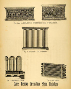 1874 Print Antique A. Carr Positive Circulating Steam Radiators Pipes Box MAB1