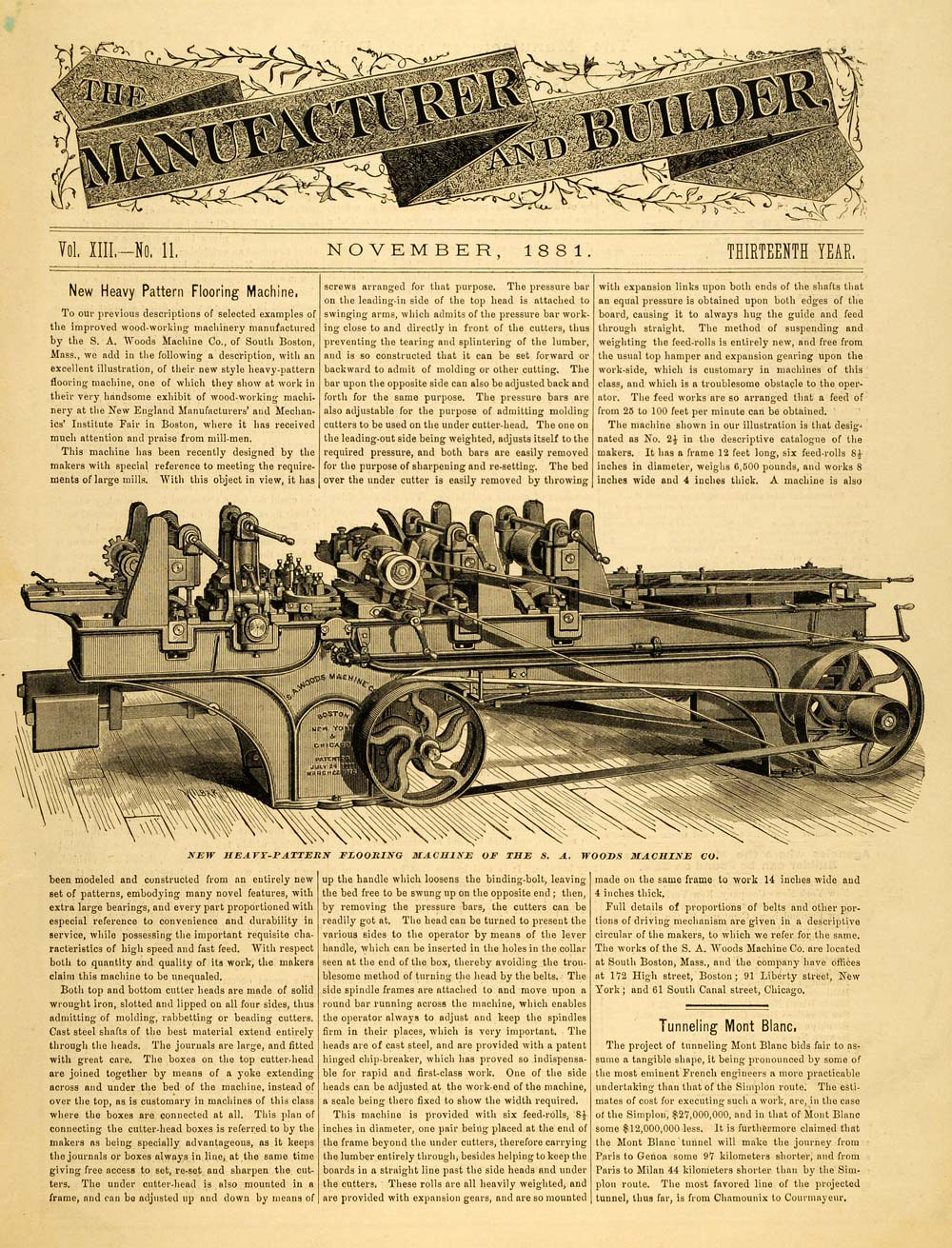 1881 Article Heavy-Pattern Flooring Machine S A Woods Co Vintage Apparatus MAB1