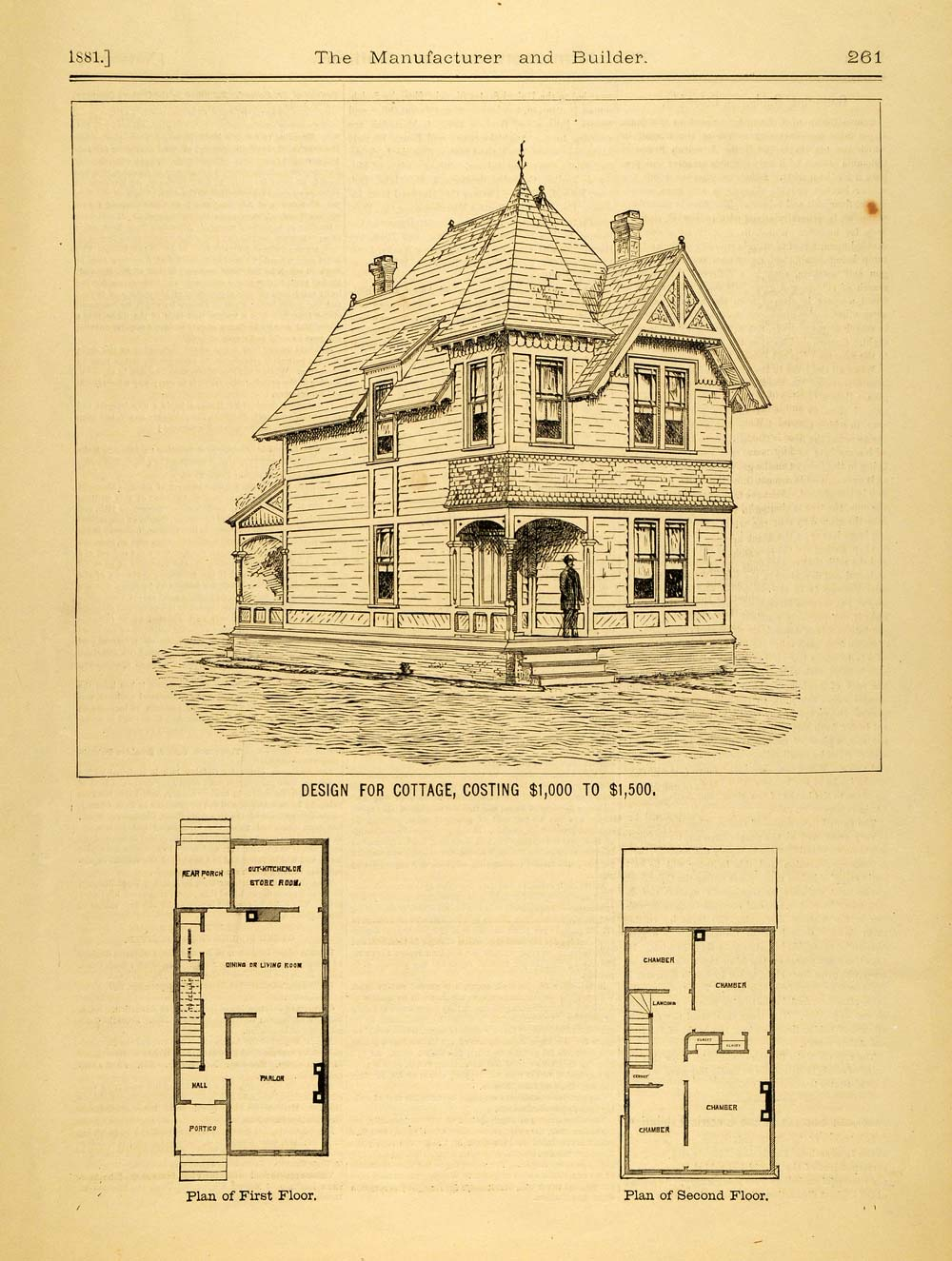 1881 print cottage architectural design floor plans for Copy architectural plans
