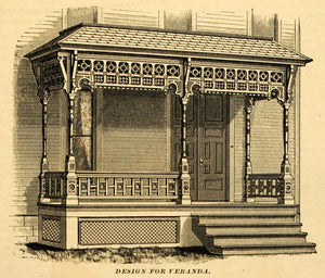 1890 Print Victorian Cottage Home Veranda Porch Entryway Architecture MAB1